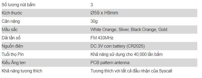 Thông số kỹ thuật chuông gọi phục vụ MT-600