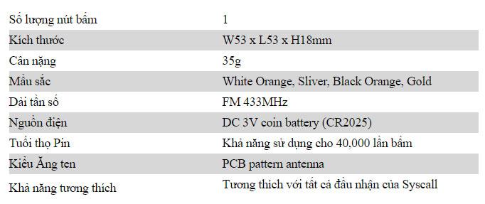 thông số kỹ thuật chuông gọi không dây ST-100