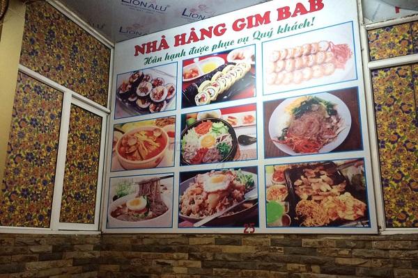 các món cơm hàn quốc tại nhà hàng Gim Bab