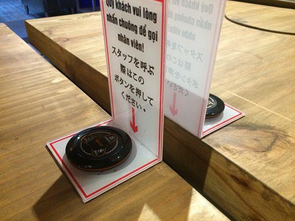 nút chuông gọi phục vụ được lắp tại nhà hàng