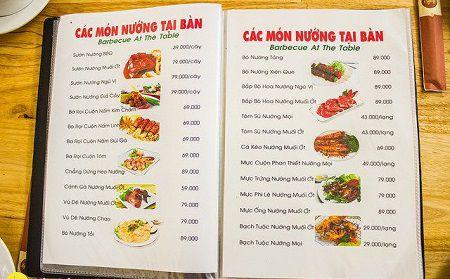 menu đồ dùng tại nhà hàng quốc hương