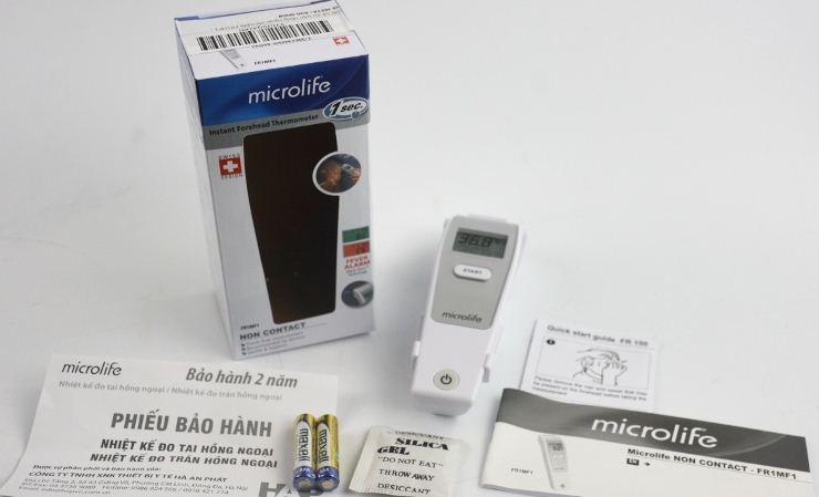 Trọn bộ nhiệt kế đo trán hồng ngoại Microlife FR1MF1