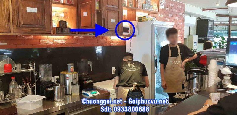hình ảnh hệ thống thiết bị chuông gọi không dây được lắp đặt tại Kafa cafe Duy Tân