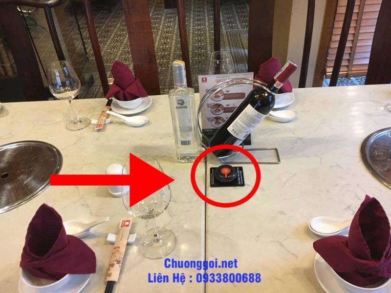 hình ảnh thực tế của nút chuông gọi được lắp đặt tại nhà hàng lẩu nấm ashima